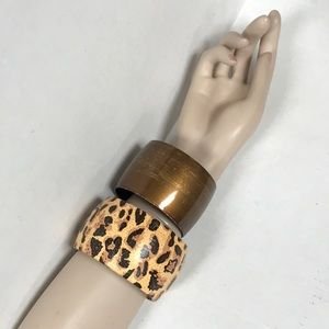 Wide bracelet leopard and copper plastic #343